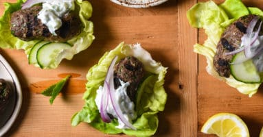Grilled Kafta Lettuce Wraps - Spiced lamb and beef patties are wrapped in cooling butter lettuce leaves for a fresh and flavorful meal you'll want to serve every week!   foxeslovelemons.com