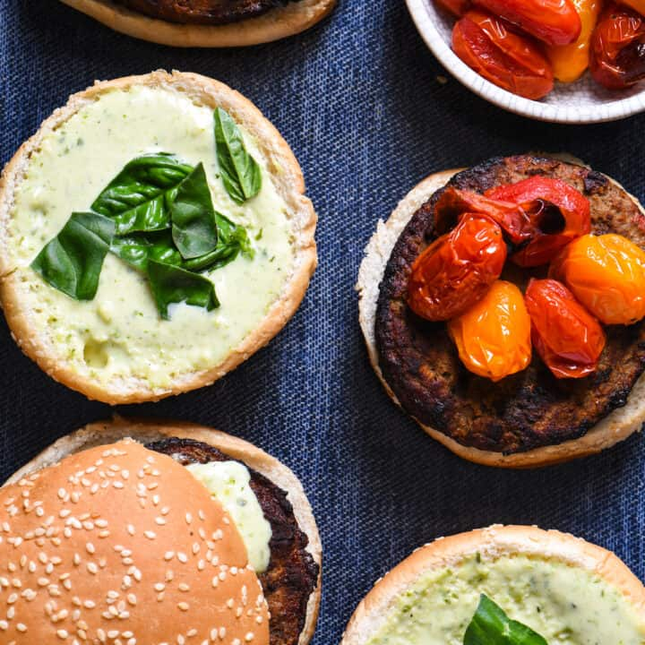 Grill-Roasted Tomato Turkey Burgers with Pesto Ranch
