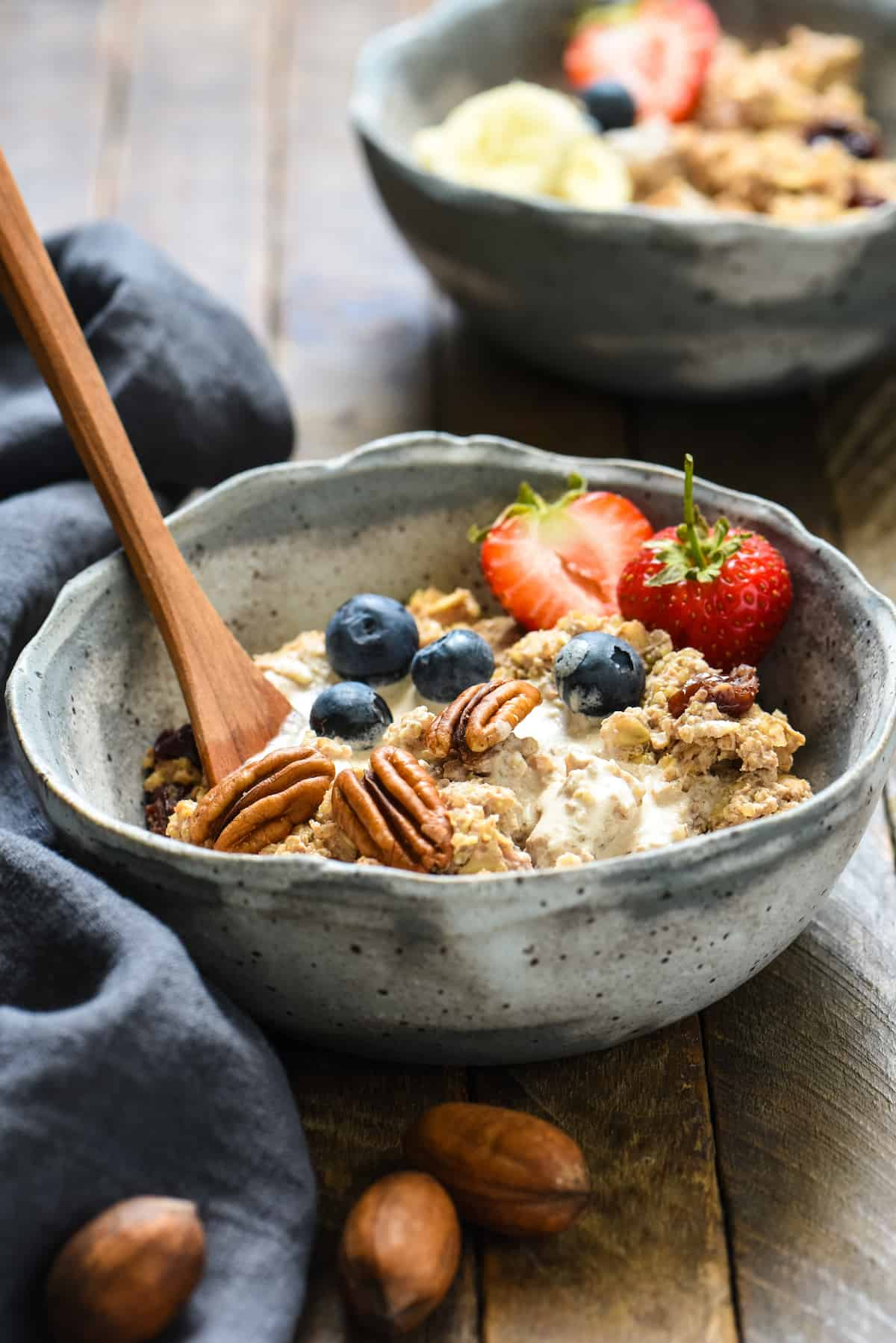 Pecan Milk Breakfast Porridge - Enjoyed warm or cold, this protein-rich, whole grain breakfast made with easy homemade pecan milk will keep you fueled all day! | foxeslovelemons.com