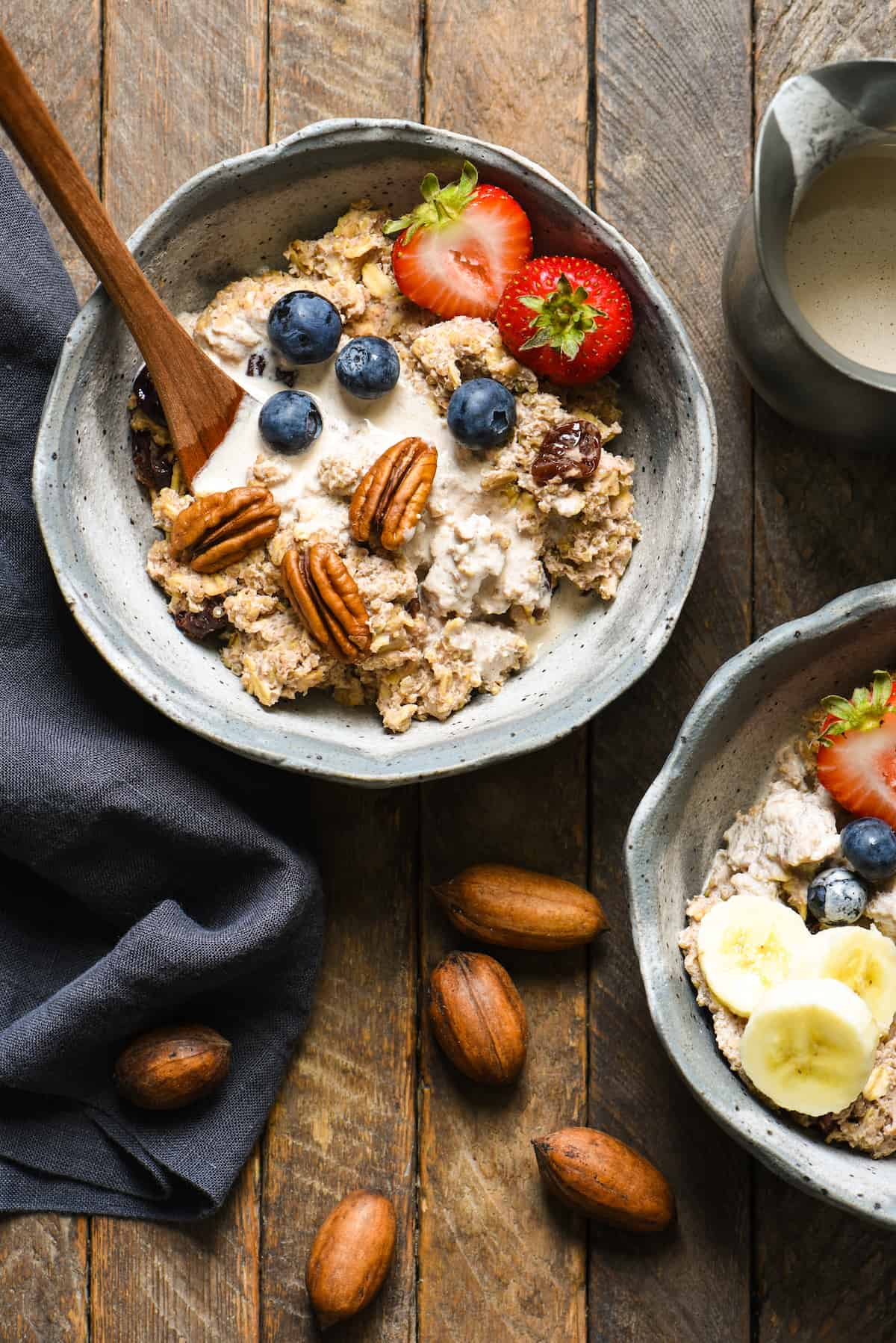 Pecan Milk Breakfast Porridge - Enjoyed warm or cold, this protein-rich, whole grain breakfast made with easy homemade pecan milk will keep you fueled all day!   foxeslovelemons.com
