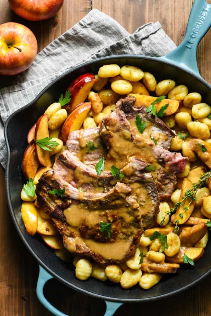 Skillet Pork Chops with Apple Gnocchi Sauté