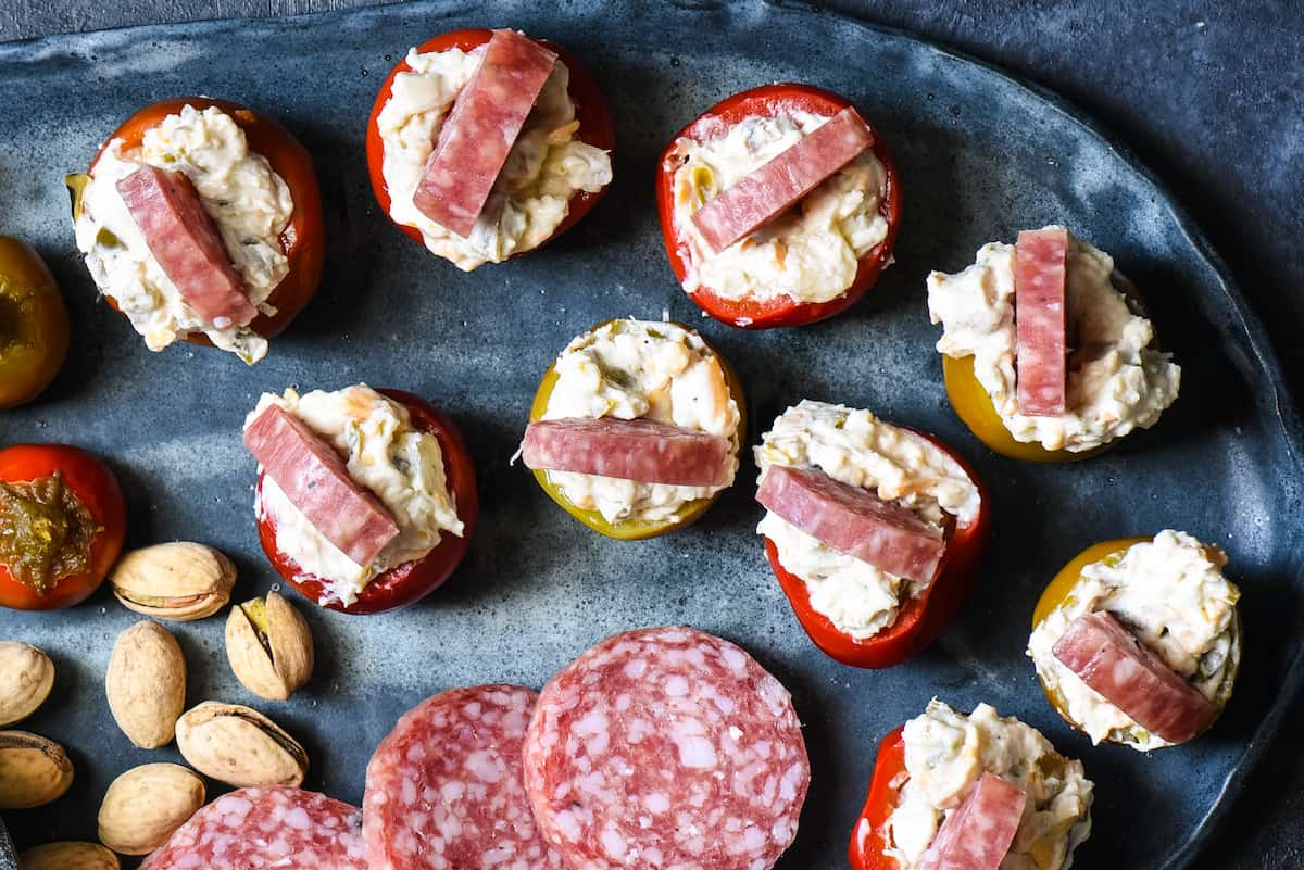 These Cherry Pepper Appetizers are the quickest snack to whip up for a party! No cooking required, but big, satisfying flavors that will keep people happy until the main course. | foxeslovelemons.com