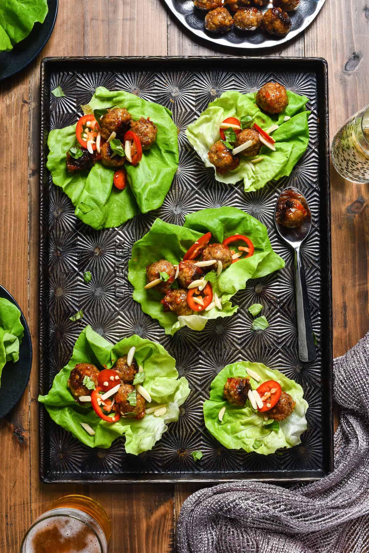 Sweet Chili Lamb Meatball Lettuce Wraps | foxeslovelemons.com