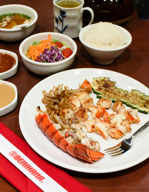 A Seafood Feast at Five Hundred Degrees - A meal of lobster tail, shrimp and scallops prepared on a hibachi grill. | foxeslovelemons.com