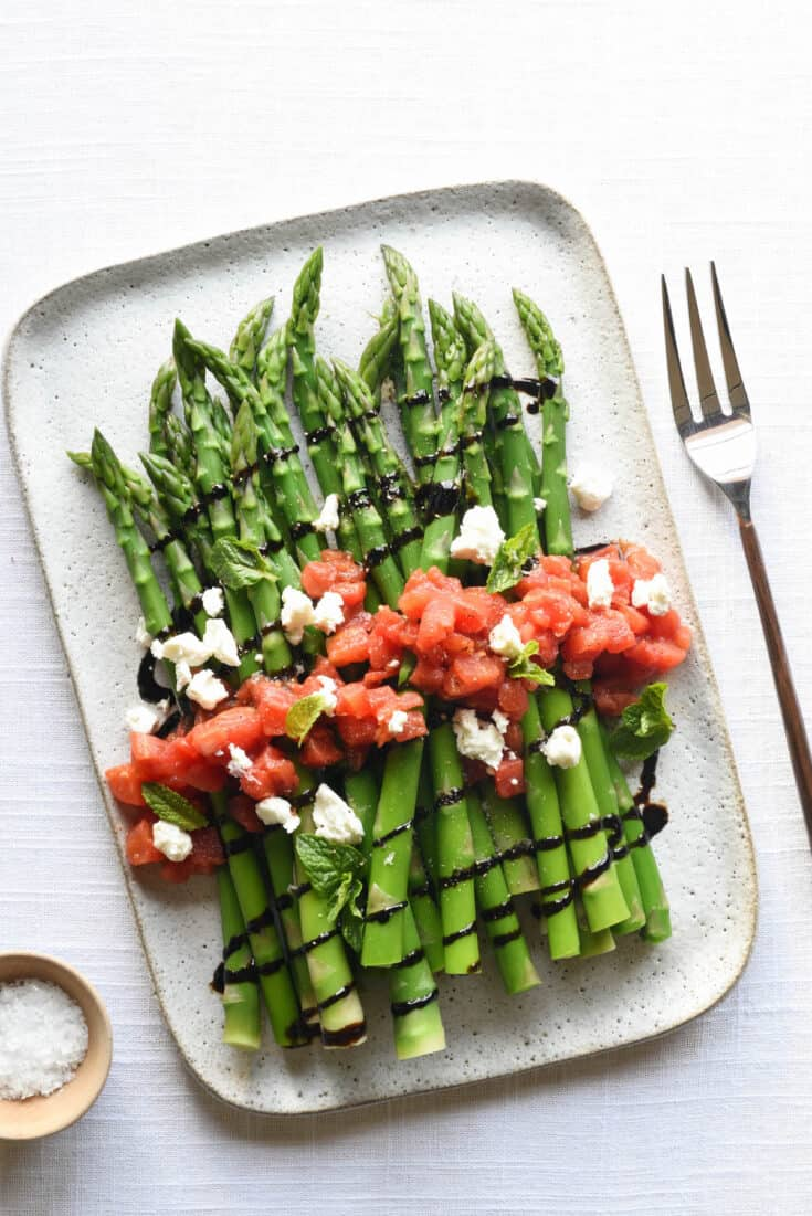 Balsamic Asparagus with Goat Cheese & Tomatoes