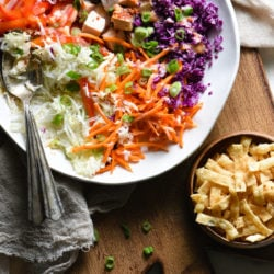 Meal preppers, listen up: all of the ingredients for this Turkey Egg Roll Salad can be chopped and prepped in advance. When you're ready to eat, dinner can be on the table in less than five minutes! | foxeslovelemons.com