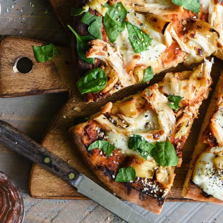Grilled Chicken Pizza with Mozzarella & Roasted Garlic