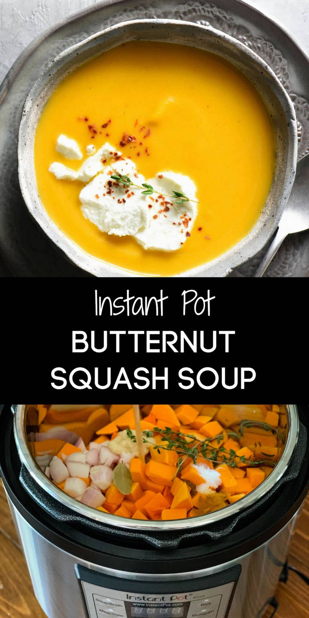 This simple Instant Pot Butternut Squash Soup cooks in just 6 minutes! Finishing with goat cheese adds a special touch that makes this a restaurant-quality dish you can easily make at home. | foxeslovelemons.com