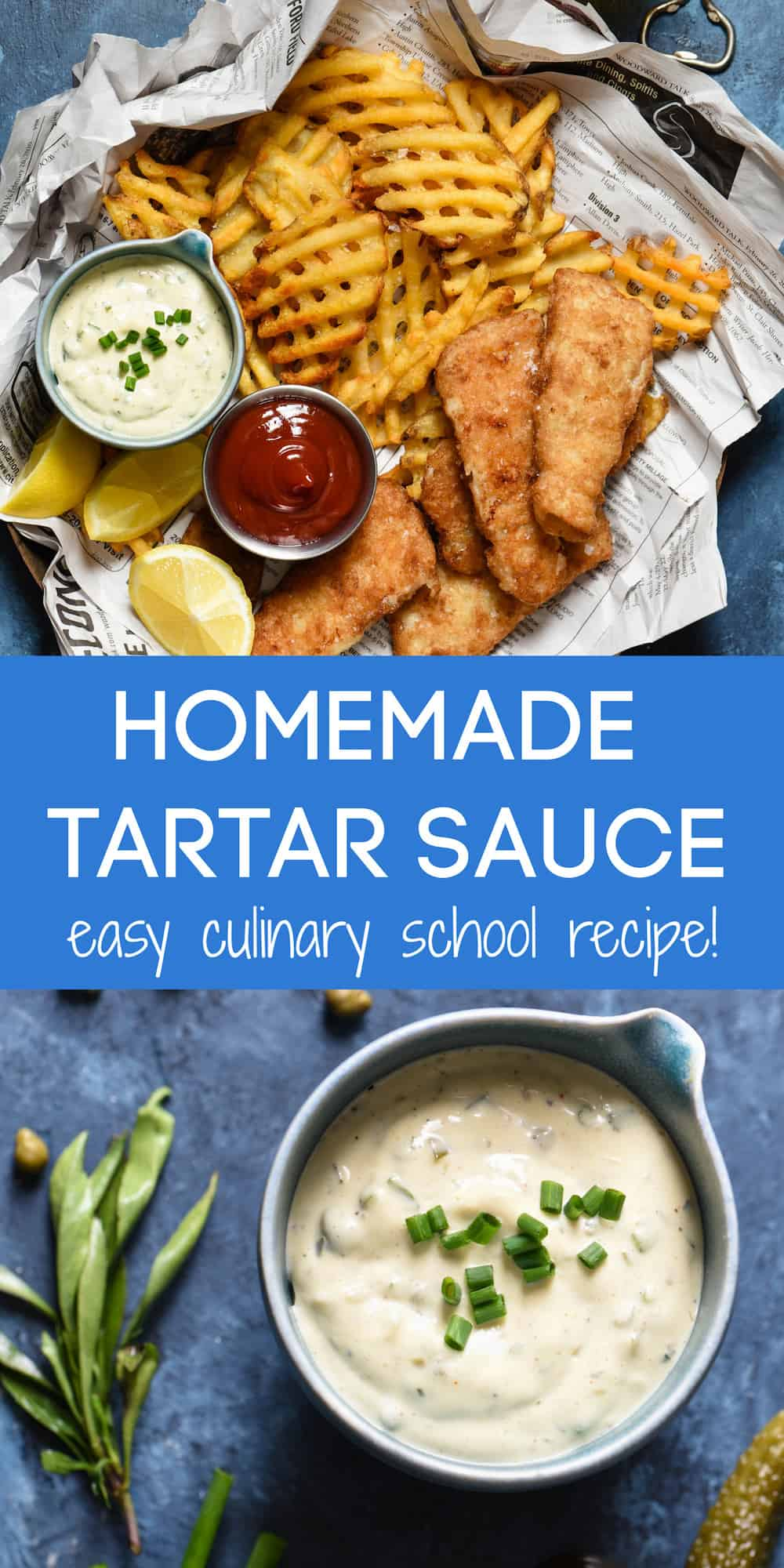 Looking for a tried and true homemade tartar sauce recipe? This one is adapted from a culinary school recipe, but is simple enough for anybody to make at home! | foxeslovelemons.com