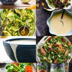 Collage of eight homemade healthy salad dressings and salads.