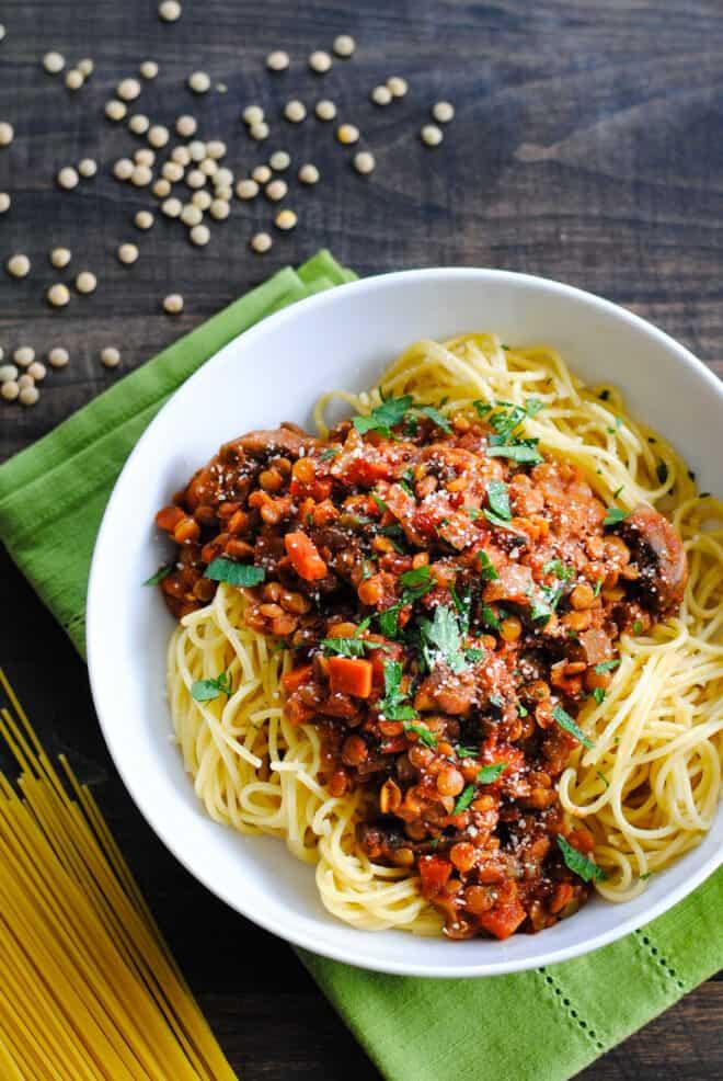 Spaghetti topped with lentil and mushroom ragu.